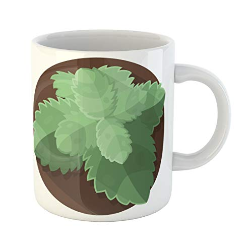 Emvency Funny Coffee Mug Green Chocolate Aromatic Mint Leaves Flat Aromatherapy Balm Christmas Culinary 11 Oz Ceramic Coffee Mug Tea Cup Best Gift Or Souvenir