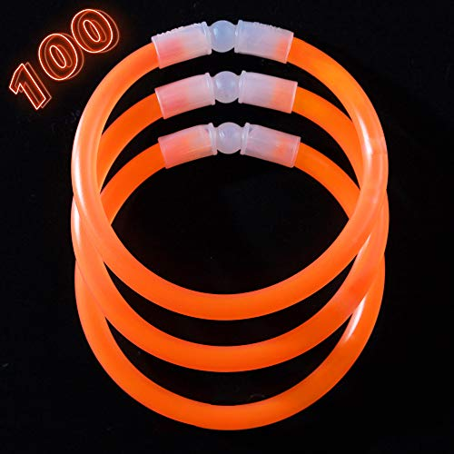 Glow Sticks Bulk Party Supplies - 100 Light Stick Bracelets - Extra Bright Glow In The Dark Party Favors - 8 Inch Bracelet Strong 6mm Thick - 9 Vibrant Neon Colors - Stuffers for Kids - Orange