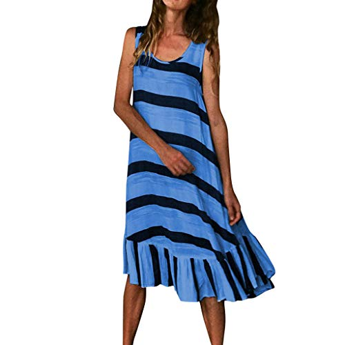 Sunhusing Womens Simple Stripe Patchwork Print Comfortable Tank Dress Loose Plus Size Sundress Blue