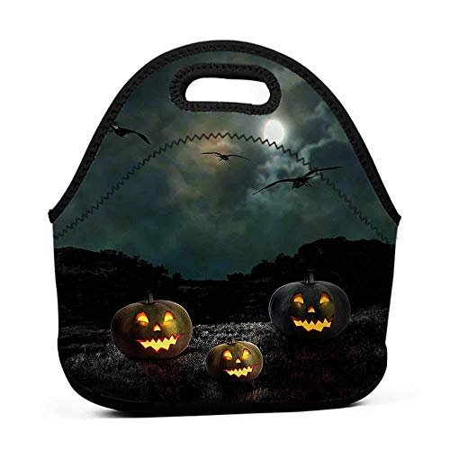 Rugged Lunchbox Halloween,Yard Old House at Night,flat lunch bag for men -