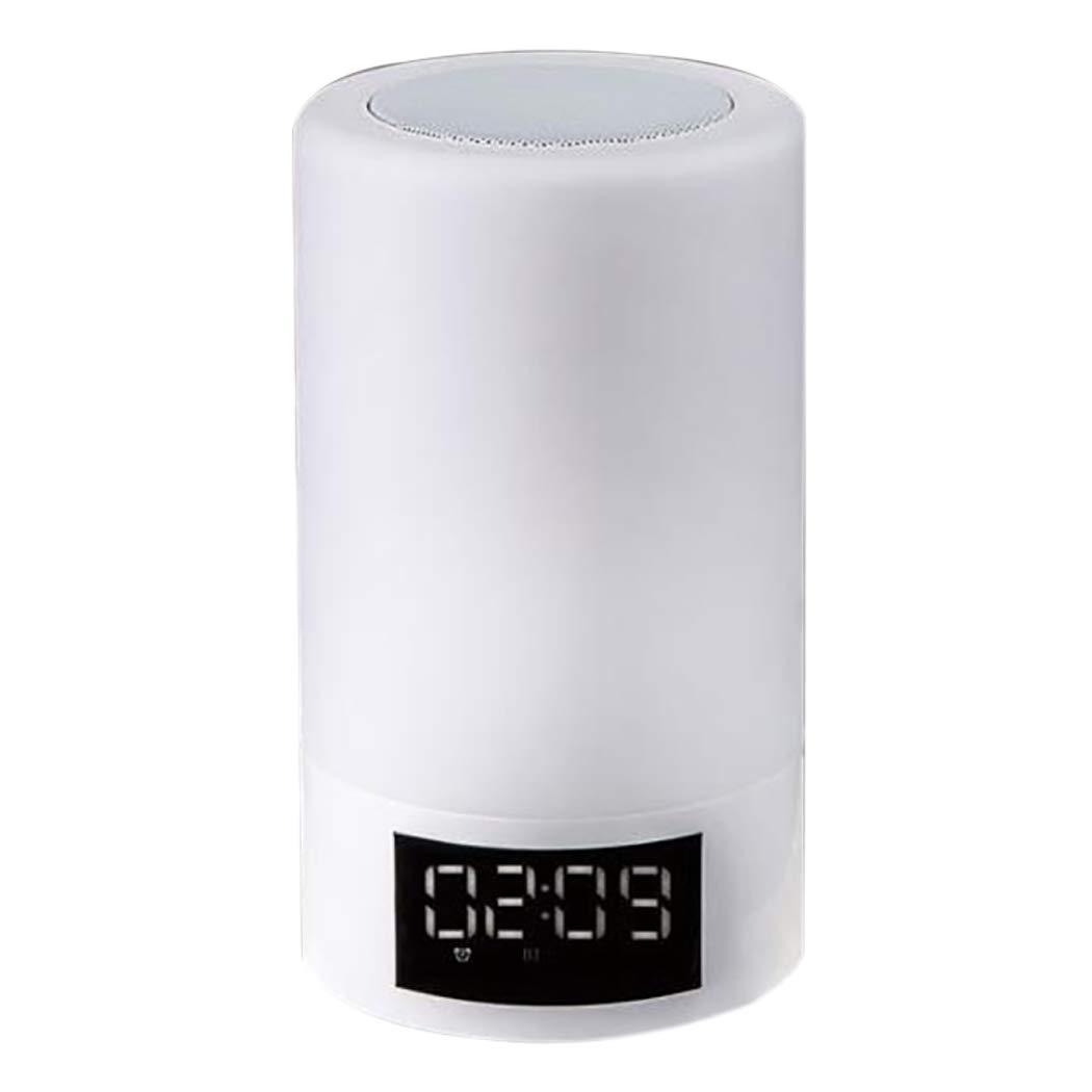 目覚まし時計タイミングBluetoothスピーカーLEDベッドサイドテーブルランプオーディオスマートタッチカラフルな雰囲気のランプFMラジオのタッチが回転することができます明るさの色と強度 (色 : 白)  白 B07JN1MTTV
