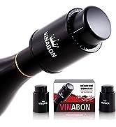 VINABON Vacuum Wine Stopper (Set of 2) - Premium Wine Stoppers Vacuum - 2-in-1 Wine Vacuum Pump a...
