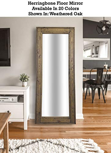 - Herringbone Floor Mirror Full Length Decorative Rustic Wood Frame: Shown in Weathered Oak - Available in 20 Colors - Decor for Bedroom - Home Decor Mirror - Leaning Mirror