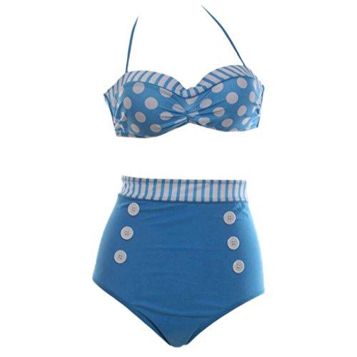Moda traje de baño Wave Point alta cintura Obscure doble cojín de cojín siamés bikini Split bikini spa traje de baño Playa de traje de baño Azul