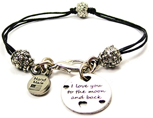 Pewter Bracelets Beaded - I Love You to the Moon and Back with Hearts Black Cord Pewter Beaded Bracelet