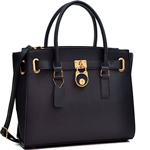 dasein-saffiano-leather-belted-medium-tote-satchel-briefcase-shoulder-handbag-purse-black-b