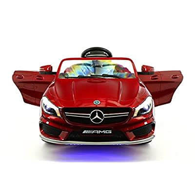 Moderno Kids Mercedes CLA45 Children Ride-On Car with R/C Parental Remote 12V Battery Power LED Wheels Lights + 5 Point Seat Belt + MP3 Music Player + Baby Tray Table + Rubber Floor Mats (Cherry Red): Toys & Games