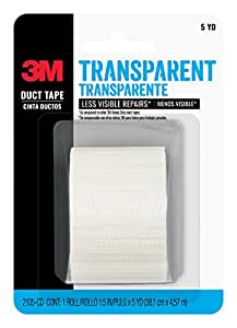 3M Transparent Duct Tape, 2105-CD, 1.5 Inches by 5 Yards