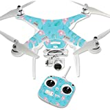 MightySkins Protective Vinyl Skin Decal for DJI Phantom 3 Standard Quadcopter Drone wrap cover sticker skins Flower Power Blue