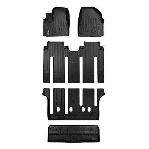 (SMARTLINER Floor Mats 3 Rows and Cargo Liner Behind 3rd Row Set Black for 2015-2018 Kia Sedona 7 Passenger Model Only )