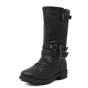 DREAM PAIRS Girls Toddler/Little Kid/Big Kid Buckle Zipper Knee High Winter Boots