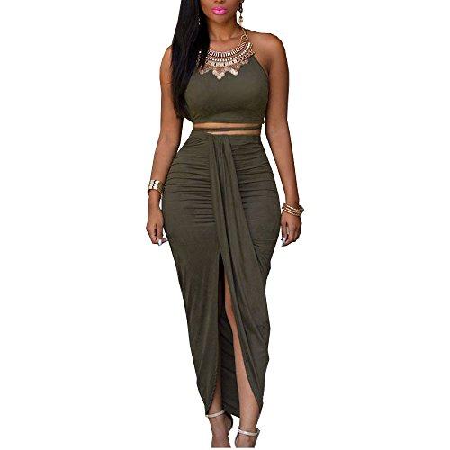 Eiffel Women's Faux Suede Two Piece Set Halter Crop Tops Maxi Skirt Dress Green