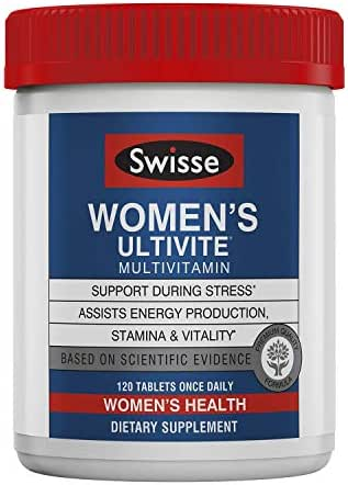 Swisse Premium Ultivite Daily Multivitamin for Women | Energy & Stress Support, Rich in Antioxidant & Minerals | Vitamin A, Vitamin C, Vitamin D, Biotin, Calcium, Zinc & More | 120 Tablets