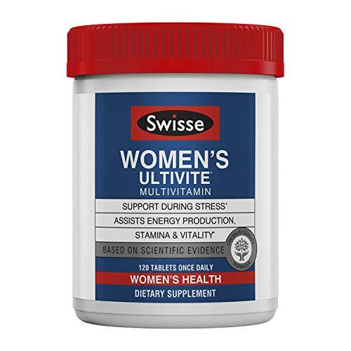 Swisse Premium Ultivite Daily Multivitamin for Women | Energy & Stress Support, Rich in Antioxidant & Minerals | Vitamin A, Vitamin C, Vitamin D, Biotin, Calcium, Zinc & More | 120 Tablets