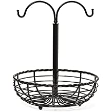 Gourmet Basics by Mikasa 5148229 Rope Metal Fruit Basket with Double Banana Hook, Antique Black