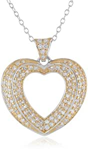 """18k Yellow Gold Plated Sterling Silver Two-Tone Cubic Zirconia Open Heart Pendant Necklace, 18"""""""