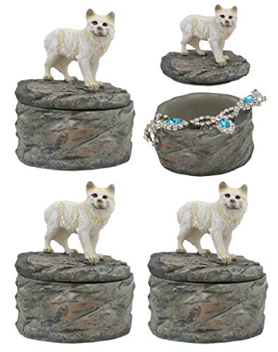 Ebros Gift Set of 4 Albino Snow White Wolf Rounded Jewelry Decorative Box Figurine As Decor of Timberwolves Wolves in Cries of The Night Moon Light Animal Totem Spirit Sculpture Accessory Storage (4)