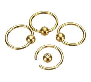 Distinct® 4PCS Surgical Steel Hoop Ring Piercing Ball Closure for Lip Ear Nose Eyebrow Nipple(Golden)