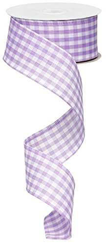 Gingham Check Wired Edge Ribbon, 1.5