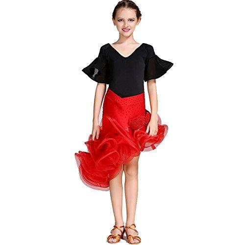abiti Latino Collant Prestazioni Comune Horn Viscosa Bambini jiu Spandex Q Gonna Manica Chiffon l Danza red Crystal strass Fiore 6AanEFq