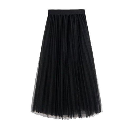 Longue Noir cocktail 87cm Tulle Causal Evedaily Femme Jupe pour Longueur lgante en Soire Pliss OqW5HAw7