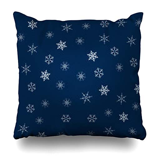Melyti Throw Pillow Cover Cosmos Blue Winter Christmas Snowflakes New Year Pattern Merry Navy Abstract Adorable Astronomy Home Decor Pillowcase Square Size 18 x 18 Inches Zippered Cushion Case (Snowflake Zippered Pillowcases)