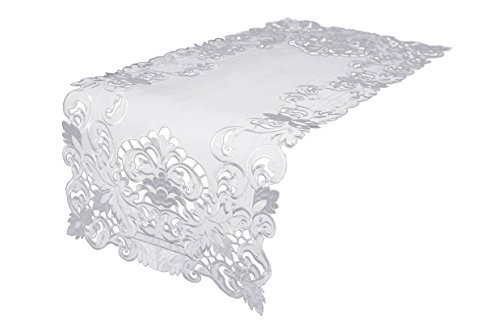 (Xia Home Fashions XD17101 Garden Trellis Embroidered Cutwork Table Runner 15 by 34-Inch White)