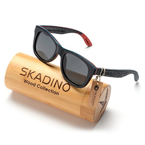 SKADINO Wayfarer Maple Wood Sunglasses with Polarized Lenses-Handmade Floating Skateboard Wooden Shades for Men & Women - Black Giraffe
