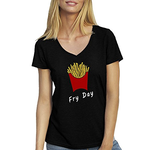 Fry Day Fries French Fries Fun T-Shirt camiseta Cuello V para la Mujer Negro