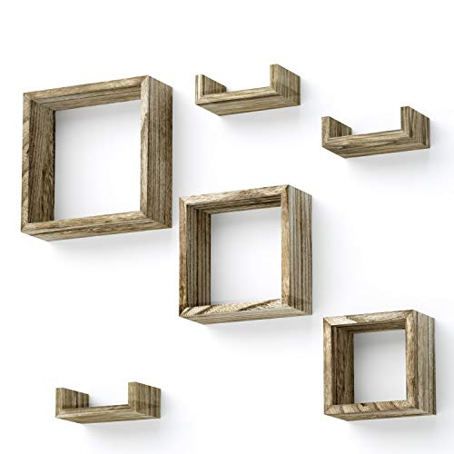 Love-KANKEI Floating Shelves Wall Mounted Set of 6 - Rustic Wood Shelves Free Grouping with 3 Square Cube Shelves and 3 U Shelves for Bedroom Living Room
