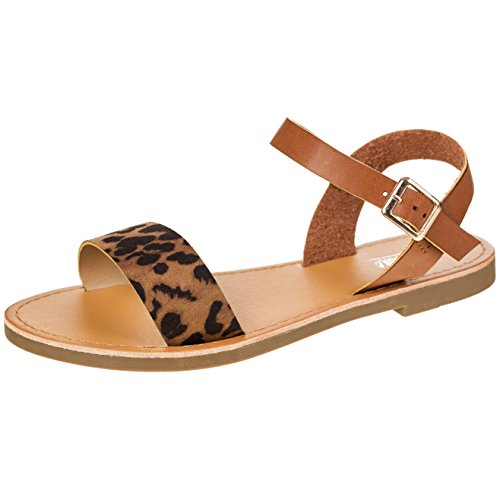 Women's Shoe Comfort Simple Basic Ankle Strap Flat Sandals (10, Leopard) by Solemate