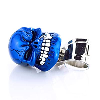 Arenbel Steering Wheel Spinner Knob Skull Suicide Turning Grip Knobs Assist fit Most Cars Truck Boat Tractor, Blue: Automotive