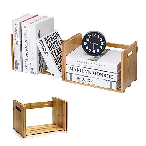 (Ytzada Wooden Desk Storage Organizer, DIY Book Rack Bamboo Extension Tabletop Desktop Adjustable Display Shelf for Office, Home and Dorm, Book, Magazine,CD Holder Media)