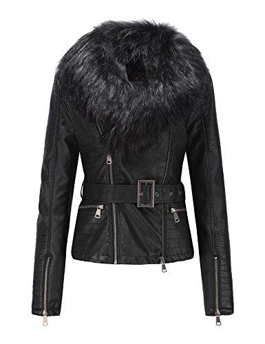 - Bellivera Women's Faux Leather Short Jacket, Moto Jacket with Detachable Faux Fur Collar