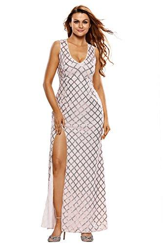 Neue Damen Blush Pailletten Offener Rücken Abendkleid langes Kleid ...