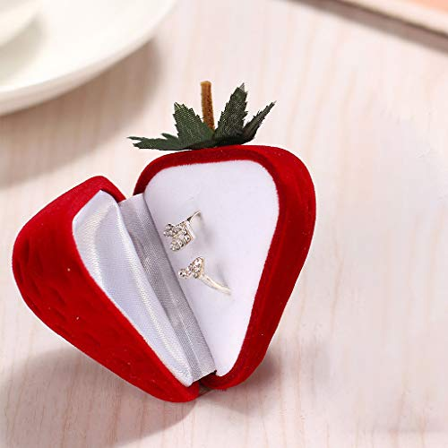 LLJEkieee 1 Pc Ring Box Cute Strawberry Form Velvet Ring Storage Case Jewelry Box Ring Box Nice Gift for Wedding, Engagement, - Locket Engraved Octagon
