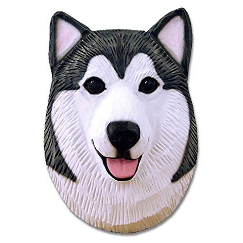 Ky & Co YesKela Alaskan Malamute Head Plaque Figurine Grey/White