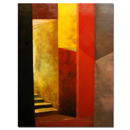 Mystery Stairway by Michelle Calkins, Red Canvas Wall Art - Red Wall Art