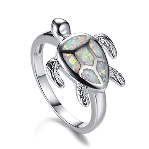 White Fire Opal Wide Band - Vanessa Australian Fire Opal Sea Turtle Rings Pendant Necklace 18