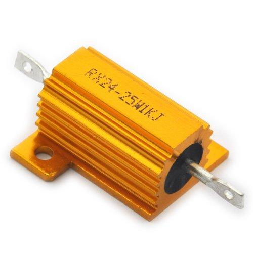 Electronics-Salon 2PCS 1K OHM 25W Wirewound Aluminum Housed - Wirewound Ohm Resistors