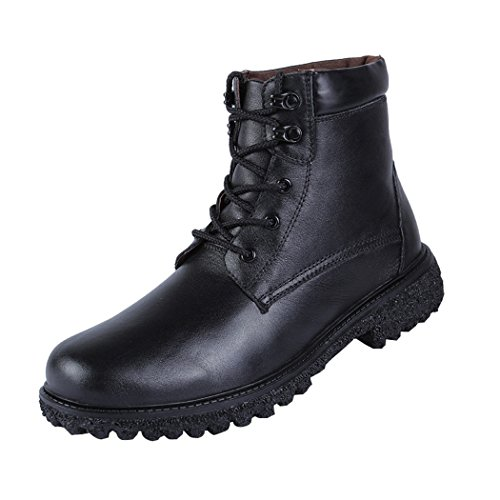 Modern Fantasy Mens Black Shoes Leather Winter Fur Trekking Combat Steel Toe Boot Size 8 - In Outlet Okc
