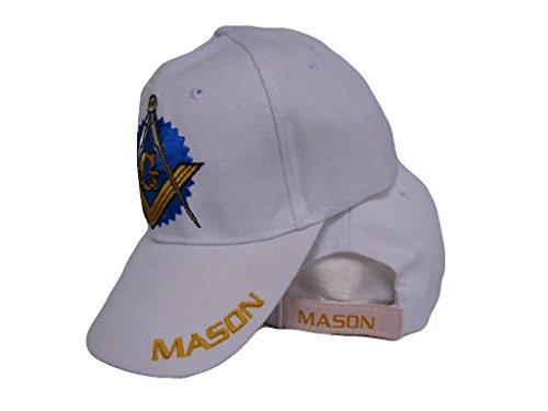 Masonic Baseball Hat - White Freemason Mason Masonic w/ Shadow Emblem Baseball Style Cap 3D Embroidered Hat
