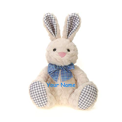 Fiesta Toys Personalized Blue Plaid Sitting Easter Bunny with Colorful Bow for Boys Plush Stuffed Animal Toy with Custom Name ()