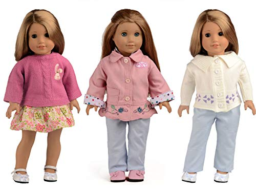 sweet dolly Christmas Gift 5PC Doll Clothes Fits 18 Inch American Girl Doll (Warm Winter) (American Girl Doll Winter Clothes)