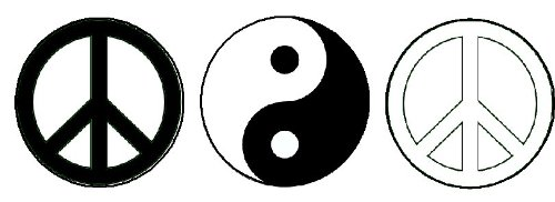 Set of 3 Black & White Peace / Yin Yang Signs 1.25