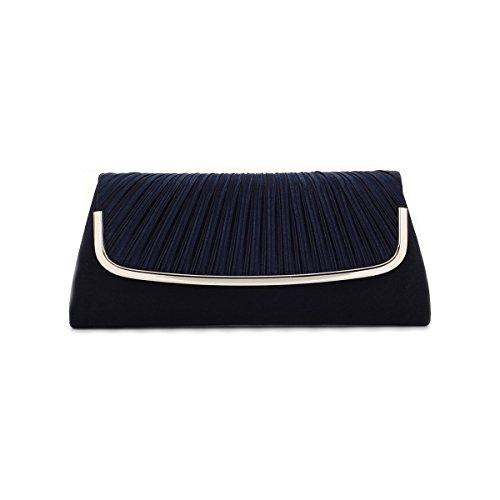 Damara Womens Simple Pleated Satin Clutch Evening Bag, Navy Blue