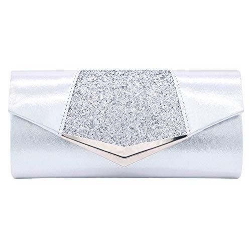 Women Glittered Envelope Clutch Purse Evening Bag Lustrous Party Handbag Shiny Shoulder Bag ()