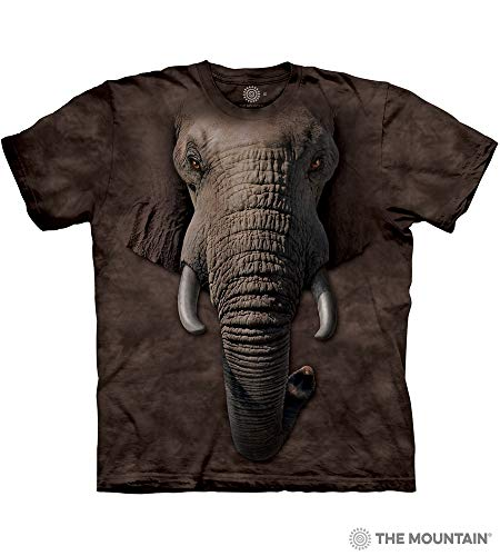 - The Mountain Elephant Face Adult T-Shirt, Brown, XL