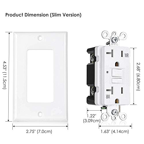 [10 Pack] BESTTEN 20A GFCI Outlets, USG5 Series, Weather-Resistant (WR), Tamper-Resistant (TR), Slim Self-Test Outdoor GFI Receptacles with LED Indicator, Decor Wall Plates Included, UL Listed, White by BESTTEN (Image #6)