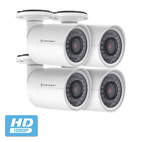 4-Pack Amcrest Full HD Bullet Outdoor Security Camera (Quadbrid 4-in1 HD-CVI/TVI/AHD/Analog), 2MP 1920x1080P, 98ft Night Vision, Metal Housing, 3.6mm Lens, 85° Viewing Angle, White (4PACK-AF-2MBC-36W)